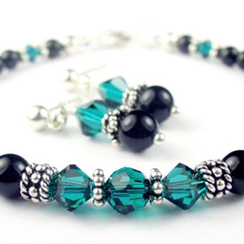 Black Pearl Beaded Bracelets and Earrings SET w/ Simulated  Blue Zircon Accents in Swarovski Crystal Birthstone Colors