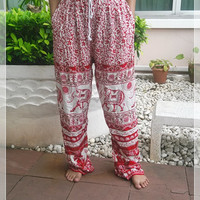 Red Elephant Yoga Pants Baggy Boho Printed Hippie Gypsy Thai Tribal Aladdin Clothing Beach Casual Tank Trousers Dress Wild Legs Unisex Hobo