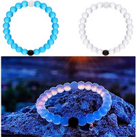 White And Black Silicone Bracelet Mud From Dead sea & Water From Mt Everest