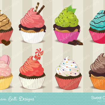 Cupcake Clipart, Cupcake Clip Art, Birthday Party Clipart, Valentines Clipart, Valentine Scrapbooking, Baking, Digital Scrapbooking, Sweets