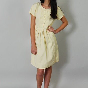 Vintage Butter Yellow Denim Dress 80s Summer Day Dress Pastel Yellow S M