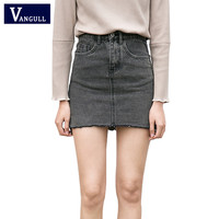 Denim skirt 2017 female spring Summer new Korean jeans skirt women Casual High waist irregular A-Line Denim Skirts High Quality
