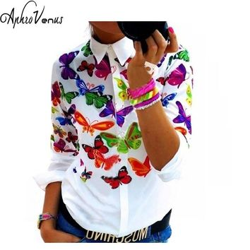 New Women's Butterfly Floral Print Blouses Chiffon Shirts Women Vintage Turn-Down Collar Tops Ladies Work Long Sleeve Blouse