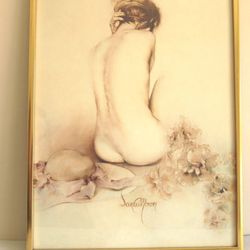 Vintage Sara Moon Monique Print - 70s Lithograph Semi Nude Woman Lady or Model on Art Board - Glass and Metal Frame - Bijan Djamalzadeh