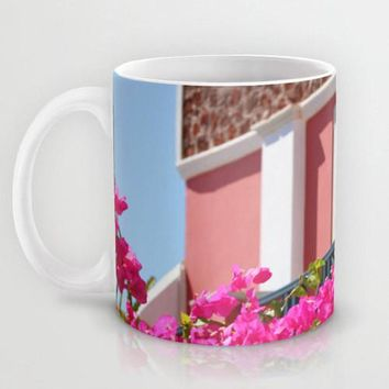 Art Coffee Cup Mug Lovely Santorini fine art Modern Landscape photography home decor Java Lovers Hot pink flowers Light Aqua blue photo