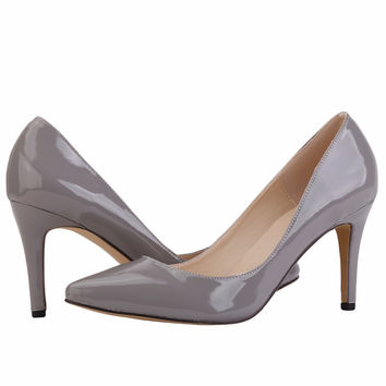 Women Pumps Patent Leather Fashion Leopard Print High Heels Shoes for Woman Sexy Pointed Toe Work Pumps Court Shoes Gray 952-1PA