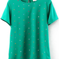 Green Short Sleeve Embroidered Chiffon Top