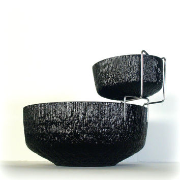 VINTAGE BRUTALIST MCM 1960's Chip and Dip Bowl Set - Perfect Barware for your Mid Century Modern Entertaining needs - Cool Solid Black Glass