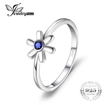 JewelryPalace Fashion Created Blue Sapphire Solitaire Ring 925 Sterling Silver Fine Jewelry Flower Rings For Women Accessories