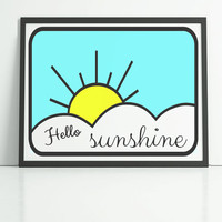Summer print, hello sunshine, sun clouds and sky print, black typography, cute print for the bedroom, home decor wall art prints, uk art