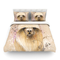 "Geordanna Cordero-Fields ""Llama Me"" Tan Featherweight Duvet Cover"