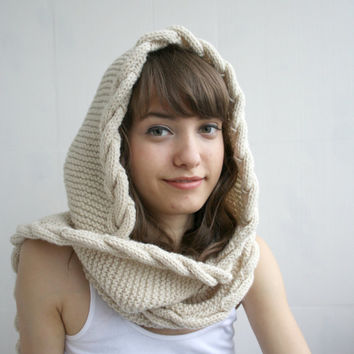 Free Shipping Beige Wool Hooded Cabled Long Scarf Cowl Mothers Day gift Under USD100 Bridal Romantic Hoodie