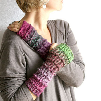 Fingerless gloves in plum, green and lavender, Long fingerless gloves, Knit fingerless glove, Long arm warmers Boho fingerless gloves