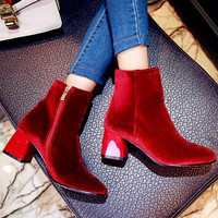 2018 Fashion Brand Winter Shoes Velvet Large Size Square Toe High Heels Runway Superstar Casual Concise Motorcycle Ankle Boots