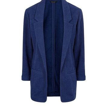 Navy Cross Hatch Blazer | New Look
