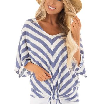 Sky Blue Stripe Knit Top with Knot Detail