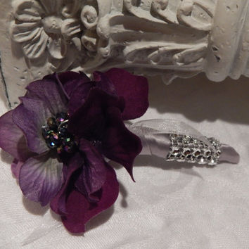 Gatsby Themed Purple Hydrangea Boutonniere - Men Accessory