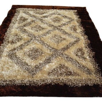 DaDa Bedding Soft Viscose Dark Brown Cream Geometric Diamond Mat Rug