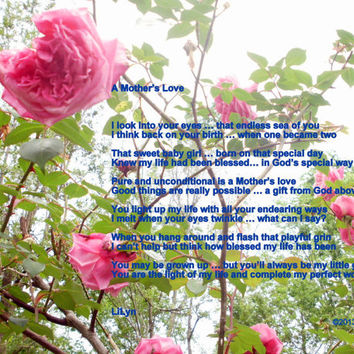 Photography; Photographic Arts; Fine Arts; Poetry; Poem; Mother; Daughter; Pink Roses; Mother's Love; Mother's Day; Gift for Mom