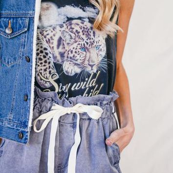 Stay Wild Moon Child Tank - Charcoal