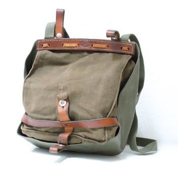 VINTAGE SWISS ARMY Bread Bag 1981, Crossover Messenger Bag, Haversack, Pannier, Military Waterproof Canvas Bag, Fishing, Made in Switzerland