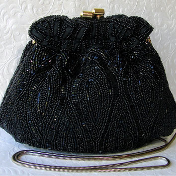 Vintage Talbots Formal Beaded Evening Bag Jet Black Glass Bead Clutch Gathered Victorian Style Purse Gold Frame Kiss Clasp Long Chain Strap