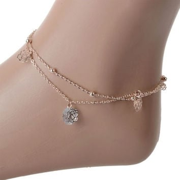 Fashion Girl Ladies Rose Flower Bead Ankle Anklet Bracelet Foot Double Layer Chain 1PC = 1645781956
