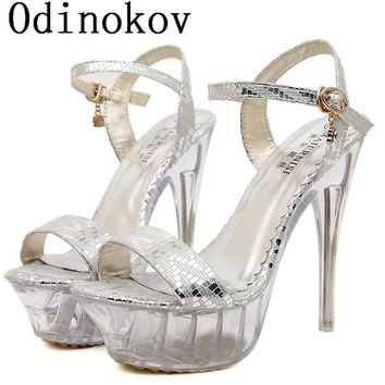 Odinokov Fashion High Heeled Thin Heels  Open Toe Lace up Sequin Heels Sandals Shoes Women Pumps Shoes 14cm Sexy Pumps Heels