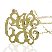 """Monogram Necklace 1"""" - 18k Yellow Gold Plated On Brass"""