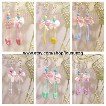 Cute Fun Pastel Safety Pin Bows Earrings  Jewelry Fairy Kei - Kawaii - Pastel Goth - Sweet Lolita -Baby - Cosplay Earrings - Blue