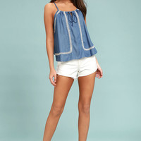 Lost at Sea Blue Chambray Embroidered Sleeveless Top