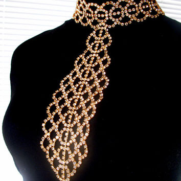 Rhinestone Tie Necklace Vintage Statement Necklace Hollywood Glamour Gold & Ice Clear