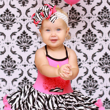 Girls Birthday Party Dress- First Birthday Dress-Lollipop Moon Pink Zebra Cupcake Tutu Dress