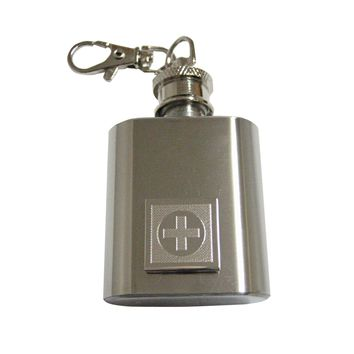 Silver Toned Etched Medical Cross 1 Oz. Stainless Steel Key Chain Flask