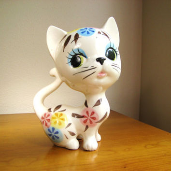 Vintage Ceramic Cat Figurine or Statue, Kitten, Kitty, Large, Mid Century, Modern, made in Japan