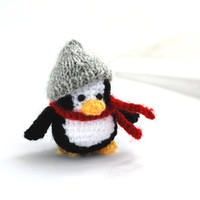crochet penguin, tiny penguin doll with grey hat and red scarf, little penguin doll, little crochet cuteness, tiny penguin, winter decor