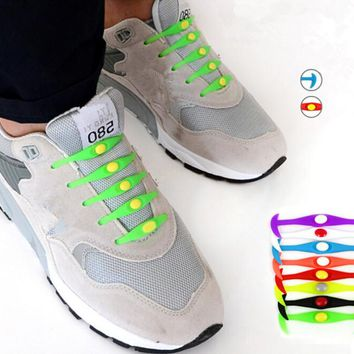 2016 Wholesale New Design Convenient Lock Colorful Elastic No Tie Silicone Shoelaces Shoe Laces Adult Children Shoelace 12 piece