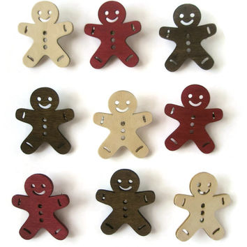 Brooch Gingerbread men Cute Christmas fun jewellery Red Natural Chocolate Brown Wooded