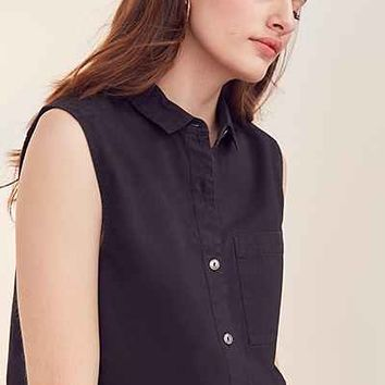 Silence + Noise Sleeveless Poplin Button-Down Blouse - Urban Outfitters
