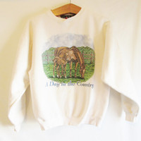 Vintage 1990's Horse 'A Day in The Country' Sweatshirt