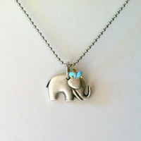 Baby Elephant Necklace, Stainless Steel Fine Ball Chain with Turquoise Rondelles, Lucky Elephant, Gift Box