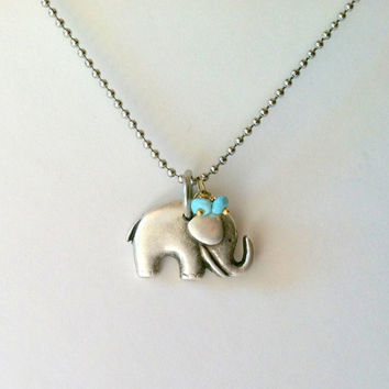 Lucky Elephant Necklace, Stainless Steel Fine Ball Chain with Turquoise Rondelles, Baby Elephant, Gift Box