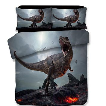 3D Quilt Cover Pillowcase Kids Bedroom cartoon style Twin Full Queen King Bedding sets 3D Dinosaur duvet cover sets bedclothes