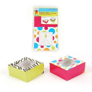 Bakery Box with Sticker and Cupcake Holder - Dots and Zebra (1 count)