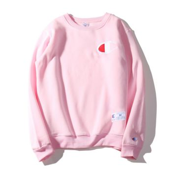 Champion Autumn and winter embroidery small lovers sweater plus velvet thickening Pink