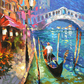 "Mysterious moonlight. Venice italy, Oil Painting on canvas by Dmitry Spiros.  Size: 24""x36"" (60 x 90 cm)"