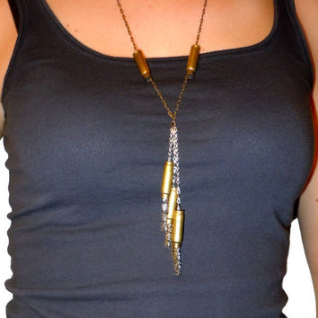 Multi Bullet Chain Necklace by ERAdesignshop on Etsy