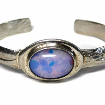 Vintage Mexican Sterling Jelly Foiled Opal Glass Cuff Bracelet