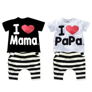 Trendy I Love Papa Mama Summer Baby Suits Boy Girl T-shirt Tops+Shorts Pant Clothes Set For Baby Girl Clothing