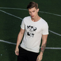 Summer England Style Men Short Sleeve Korean Slim Round-neck Print T-shirts [6544362179]